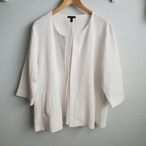 Eileen Fisher white cotton cardigan XL